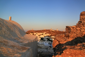 Church on the left, castle on the right, Chora and windmills on ridge beyond