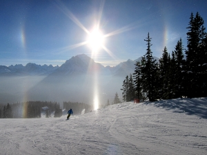 Billions of microscopic ice crystals form a sun dog at Lake Louise