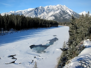 Looking along the Bow River near Banff