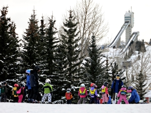 Young tots get ski training in sight of the jump