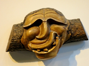 One of the wooden carvings by the Salish Indians on dispaly