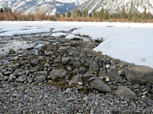 A stony beach kept clear of snow by the warm spring emerging into the river
