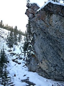 The beginning of the steep climb up into Sundance Canyon alongside the snow-covered stream