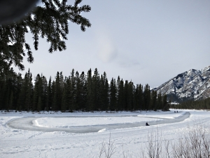 A skating oval cleared of snow on the river