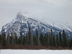Mount Rundle across a snow-covered Vermillion Lake