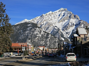 Cascade Mountain, dramatic backdrop along the length of Banff Avenue