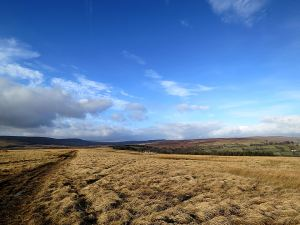 High on the windswept moorland ridge