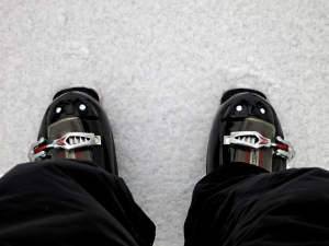 Clamped into ski boots and ready to go.  Compare this with my Gravata which what I normally wear