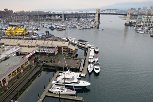 Looking down on the Granville Island Food Market from the bridge