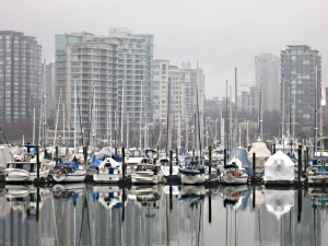 Tower blocks, boats, masts .... and shrink wrapping.,
