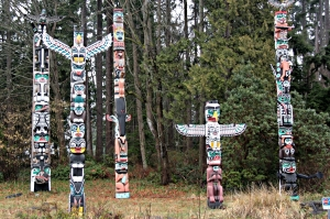 Some of the First Nation totem poles in Stanley Park
