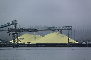 Sulphur: a reminder that this is still a working port with a history of mineral extraction