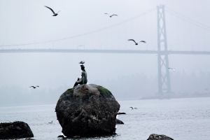 'Girl in wetsuit' keeping an eye on Lions' Gate Bridge