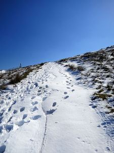 Starting to climb up to the ridge, the slightly sunken path filled with drifted snow