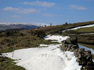 Looking North to the top of Mynydd Varteg still comprehensively covered in snow