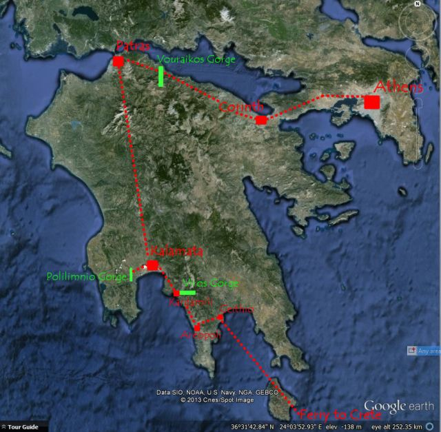 The planned route in the Peloponnese