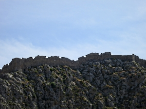 The ramparts of the Crusader castle on the top of the crag