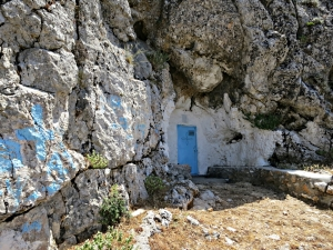 Built into the mountain, the tiny chapel of Agios Ioannis Theologos