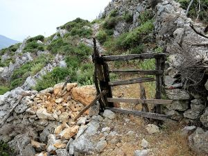 Another Greek Gate at the top of a steep gully