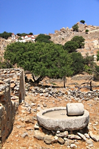 Olive press complete with grinding stone just left behind