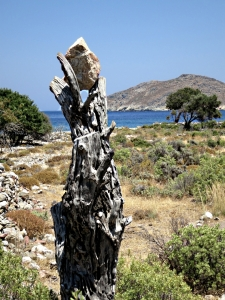 Some creative person wedged this big stone in a dead olive tree at the side of the final section of path to Lethra Beach.