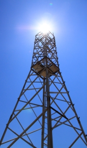 The derelict telecom mast on the summit, not without its drama