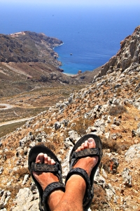 Relaxing on the top, Thollos Beach at my feet