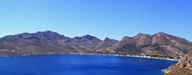 The mountains backing Livadia Bay, Vounos on the left