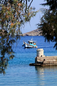 Fishing boat returns to Agios Stephanos after early morning fishing