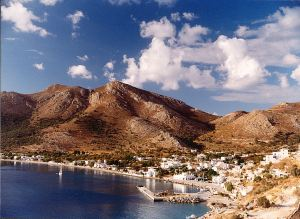 Looking down to Livadia, the largest settlement on Tilos