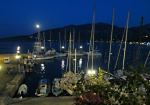 It doesn't get much more tranquil than Tilos harbour at night