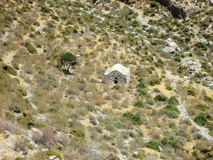 Approaching the isolated, abandoned chapel of Panagia