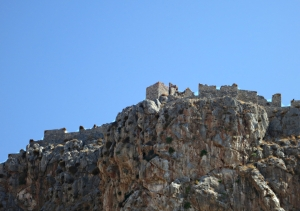Passing beneath the crag topped by the crusader castle