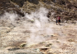 Sulphur gas hisses out in clouds