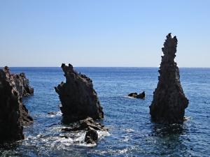 Lava stacks in the sea