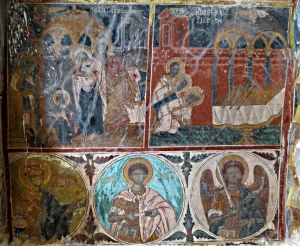 Intact 17th Century frescoes in the long abandoned Siones monastery