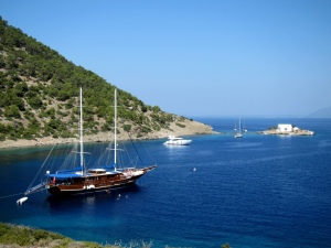 One of the large Turkish boats moored to the shore