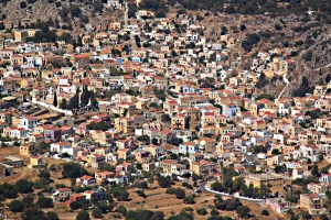 Zooming in on Horio, the old town above the harbour from the ridge top