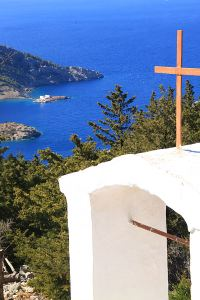 View from the monastery across Skoumisa Bay to Agios Emilianos
