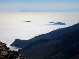 Tilos in silhouette on the horizon