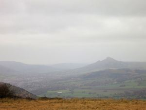 The Skirrid, hazy in the murk
