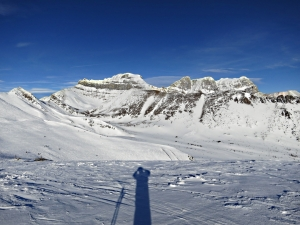 Photographer at the Top of the World looking across the 'Back Bowls'