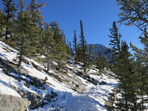 The gradient of the path gentles towards the top, the summit of Mount Rundle in view, rock slabs stripped bare of snow by strong winds