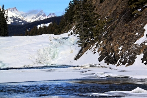 Zooming in on the still rushing water on the right as it emerges from the ice