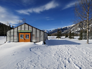 On the recreation ground is the Banff Community Greenhouse, snowed in at this time of year
