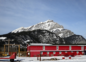Riding stables backed by Cascade Mountain