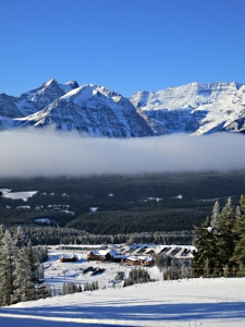 The Ski Lodge at Lake Louise below the cloud band