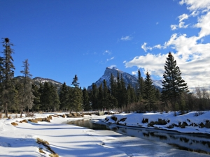 Leaving the main river behind, conitnuing up the small creek and looking back to Mount Rundle