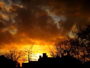 Urban sunset over Stockport