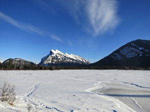 Looking across First Vermilion Lake to Mount Rundle